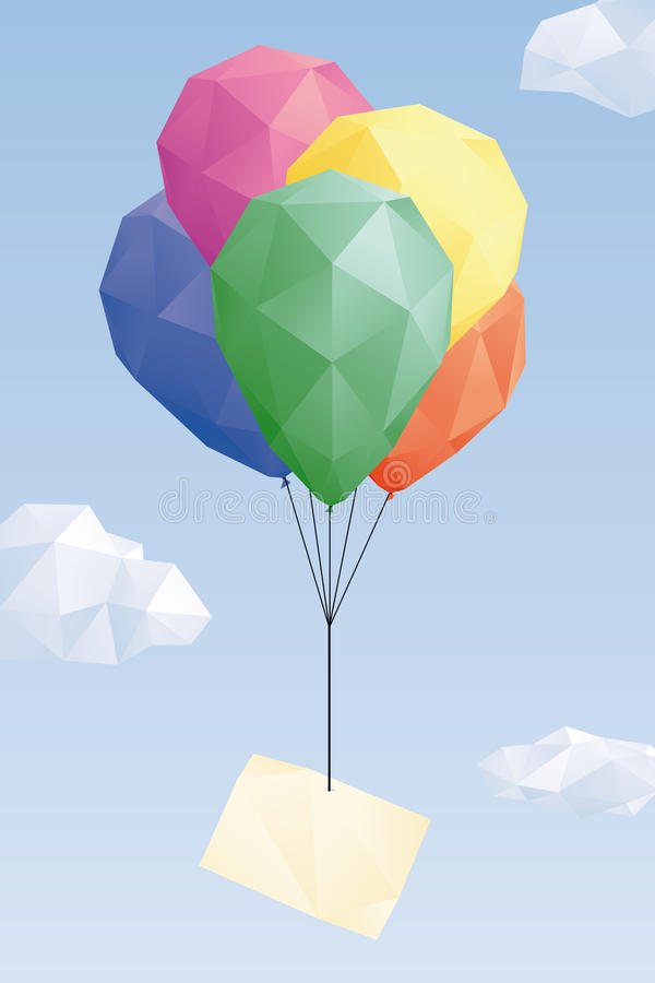 Low Poly balloons with blank greeting card vector. Low Poly graphic of blank greeting card attached to balloons in the sky stock illustration