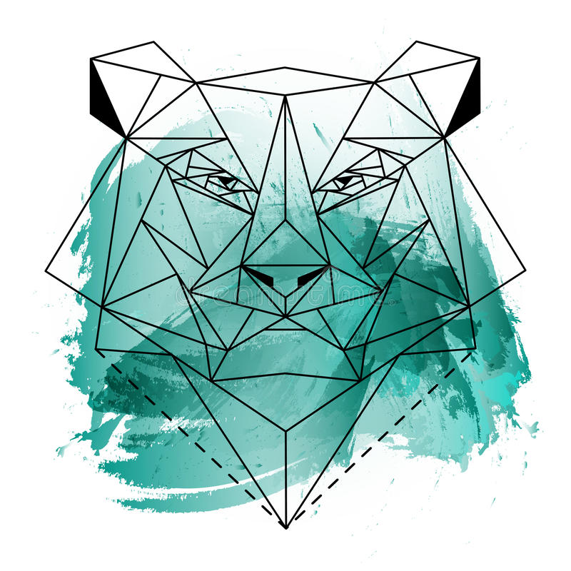 Low poly bear on blue watercolor royalty free stock photography