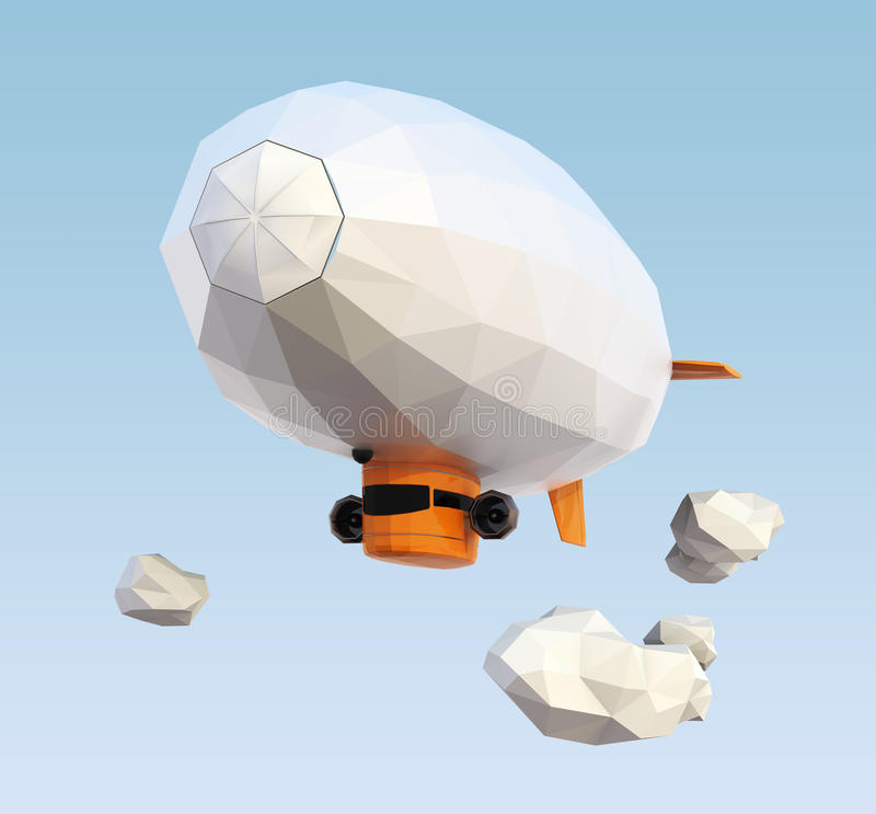 Low poly blimp flying in the sky stock photo