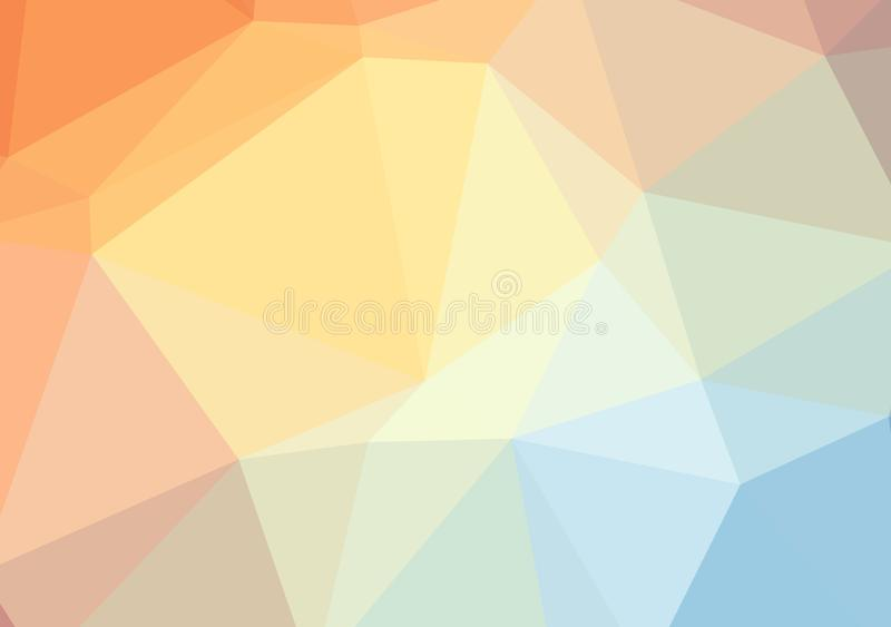 Low poly bright multicolored light triangle background color gradient pattern crystal, flat design color illustration.  stock illustration