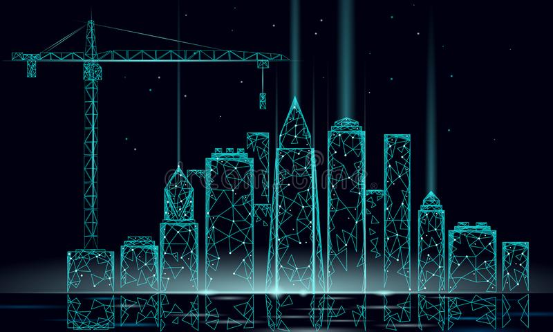 Low poly building under construction crane. Industrial modern business technology. Abstract polygonal geometric 3D. Cityscape urban silhouette. High skyscraper stock illustration