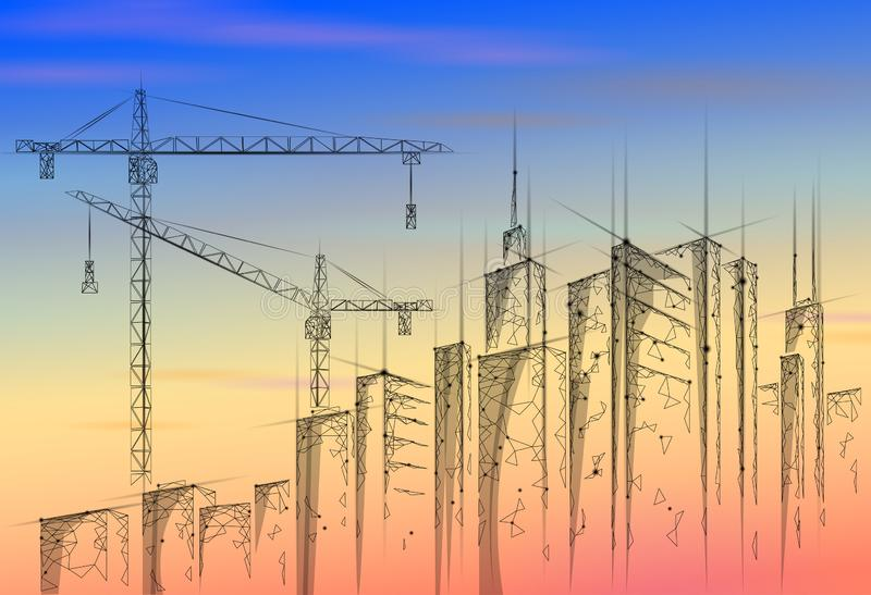 Low poly building under construction crane sunrise. Industrial modern business technology. Colorful sunset sky 3D. Cityscape urban silhouette. High tower stock illustration