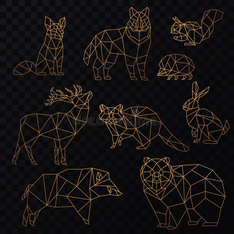 Low poly cgolden line animals set. Origami poligonal gold line animals. Wolf bear, deer, wild boar, fox, raccoon, rabbit. And hedgehog vector illustration