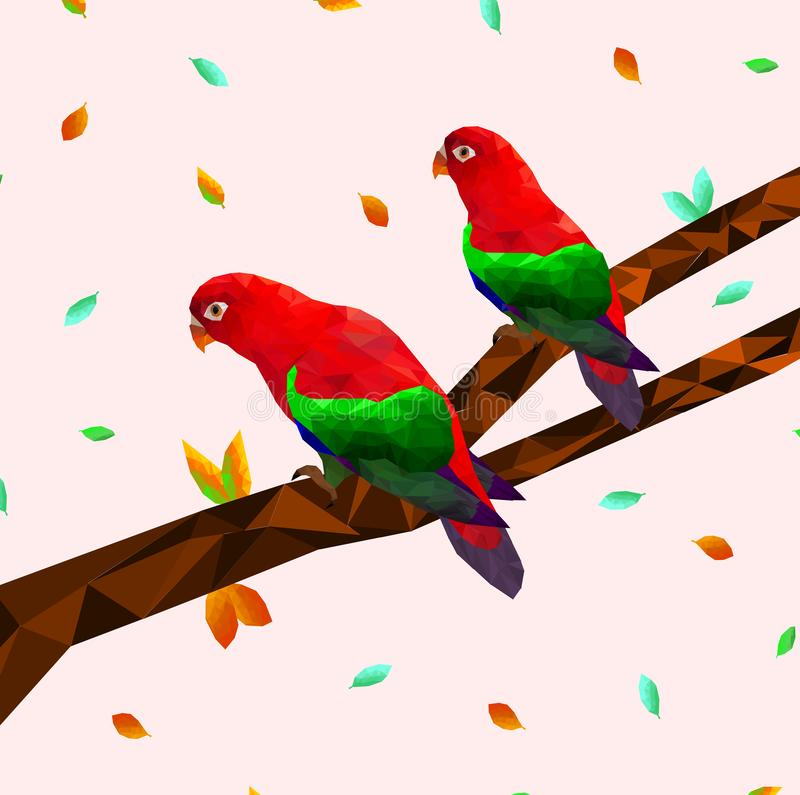 Low poly colorful red parrot bird with tree on back ground, birds on the branches ,animal geometric concept,vector vector illustration