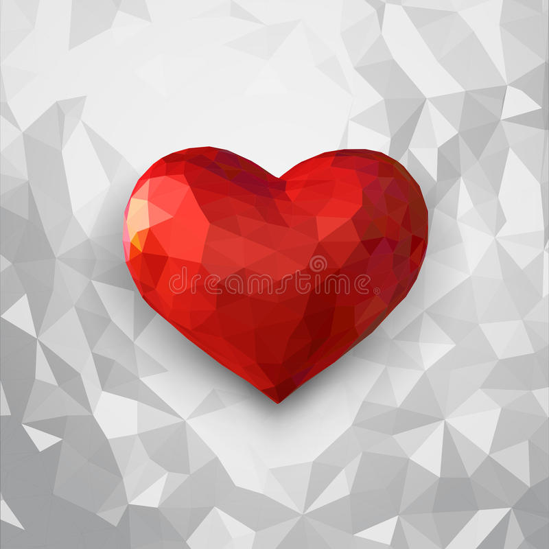 Low Poly Red Heart 3d Illustration On White Background Stock