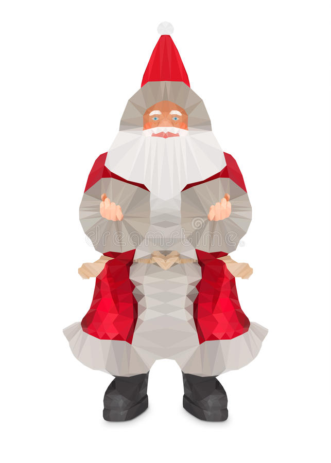 Low Poly design of Santa Claus. royalty free stock photo