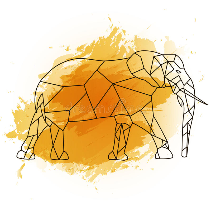 Low poly elephant on orange watercolor stock images