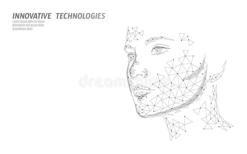 Low poly female human face biometric identification. Recognition system concept. Personal data secure access scanning. Innovation technology. 3D polygonal stock illustration