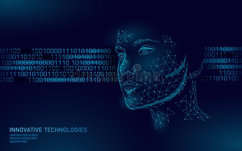 Low poly female human face biometric identification. Recognition system concept. Personal data secure access scanning. Innovation technology. 3D polygonal royalty free illustration