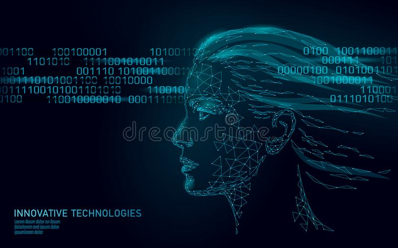 Low poly female human face biometric identification. Recognition system concept. Personal data secure access scanning. Innovation technology. 3D polygonal vector illustration