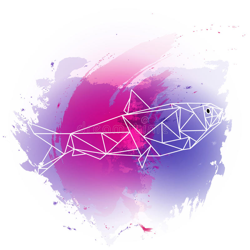 Low poly fish on violet and pink watercolor royalty free stock photos