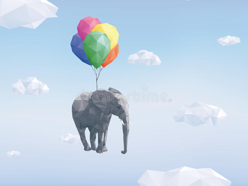 Low Poly Flying Elephant vector illustration royalty free illustration