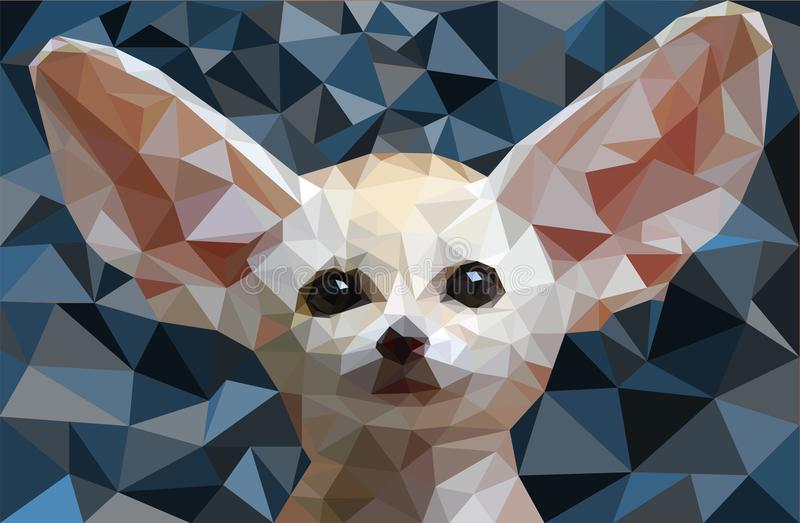 Low poly fox Fennec Vector illustration. Low poly fox Fennec - Vector illustration - Animal -Low poly design - Abstraction background royalty free illustration