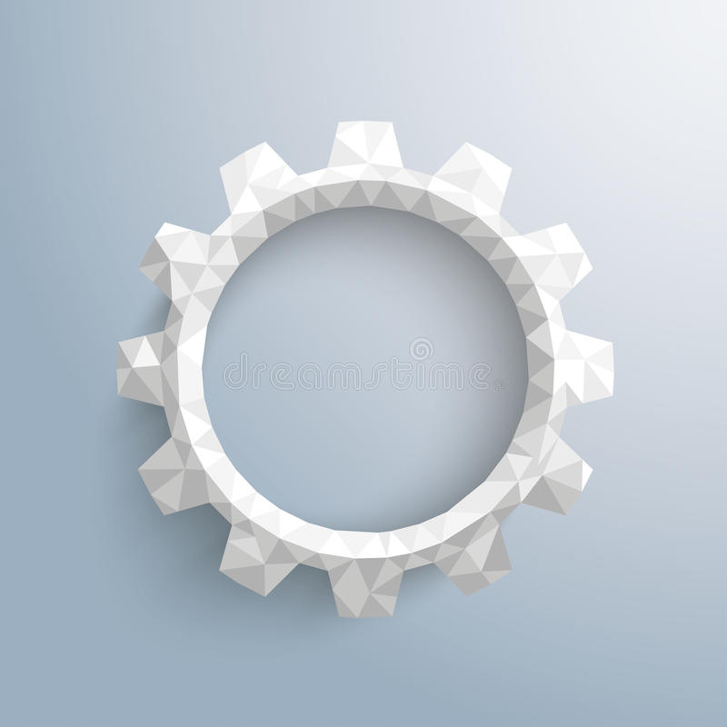 Low Poly Gear. Low poly paper gear on the gray background vector illustration