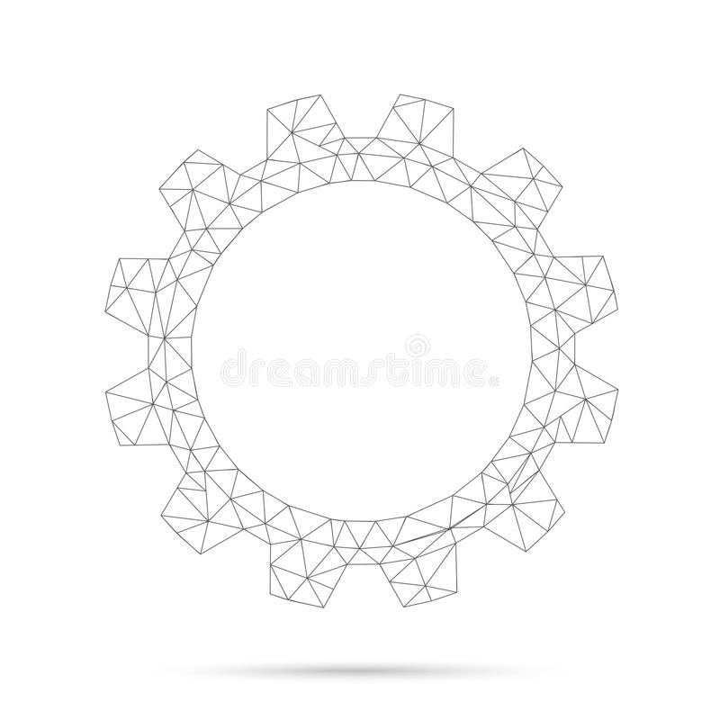 Low Poly Gear Wheel Network. On the white background vector illustration