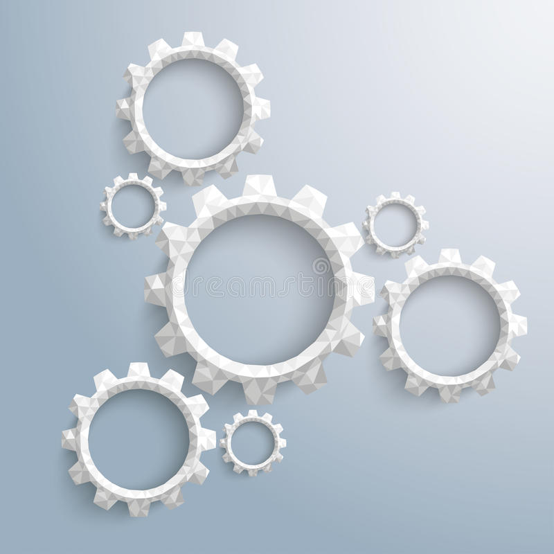 Low Poly Gear Wheels Cycle Infographic. Low poly paper gears on the gray background royalty free illustration
