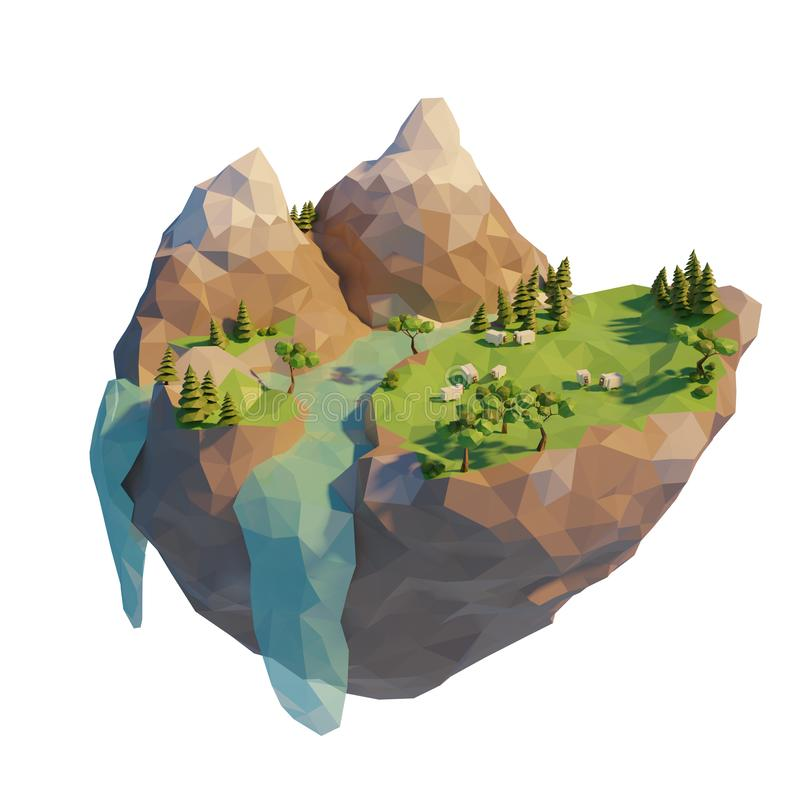 Low poly geometric landscape with sheep. Mountain with river and trees. 3d render illustration.  royalty free illustration