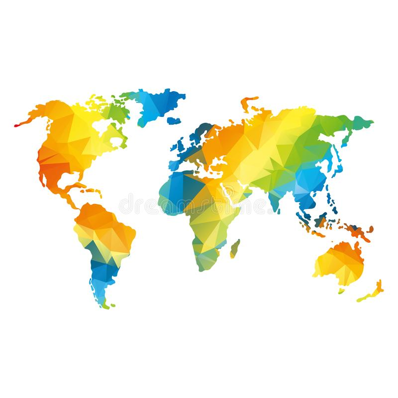 Low poly global world map. Global world map. Rainbow color. Low poly vector objects isolated on white background. Objects isolated on white background vector illustration
