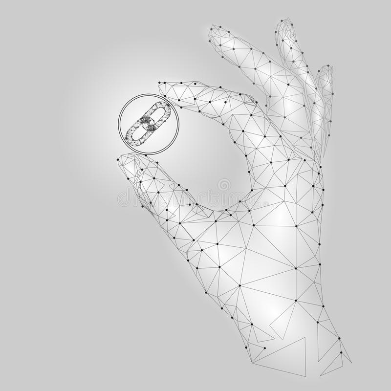 Low poly hand hold blockchain link symbol carefully. Polygonal triangle connected dot point white gray cryptocurrency stock illustration