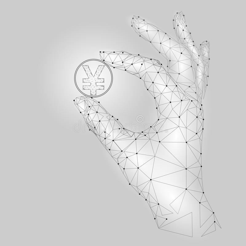 Low poly hand hold yen coin symbol carefully. Polygonal triangle connected dot point white gray currency value finance royalty free illustration