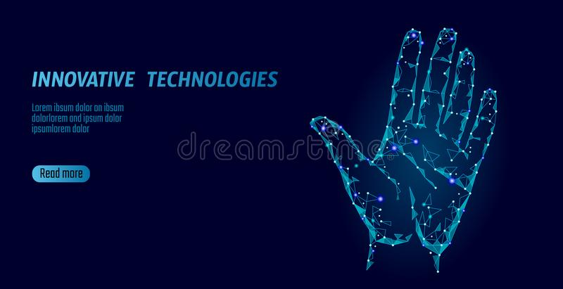 Low poly hand scan cyber security. Personal identification fingerprint handprint ID code. Information data safety access vector illustration