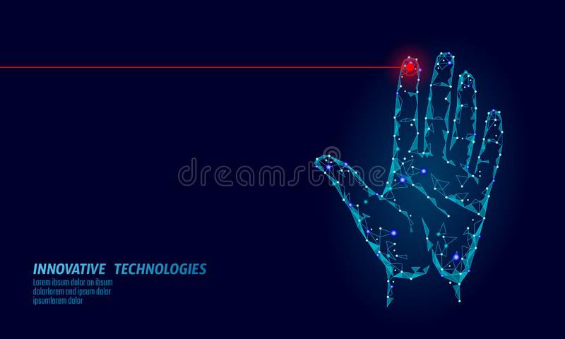 Low poly hand scan cyber security. Personal identification fingerprint handprint ID code. Information data safety access royalty free illustration