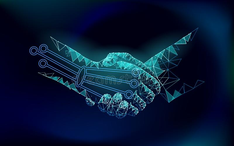 Low poly handshake future industrial revolution concept. AI artificial and human union. Online technology agreement stock illustration