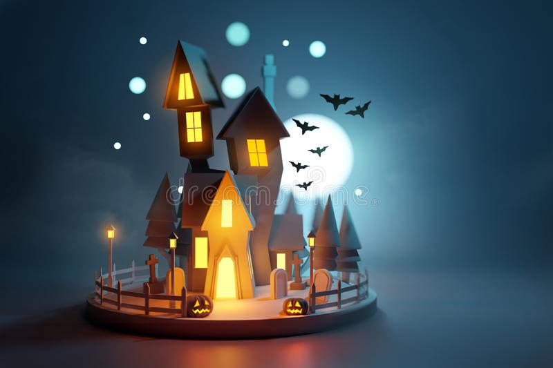 Low Poly Haunted Halloween House royalty free illustration
