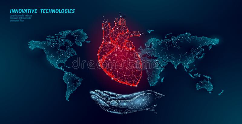 Low poly heart health day. Global world map cardiac awareness medicine banner anatomical health blood system test stock illustration