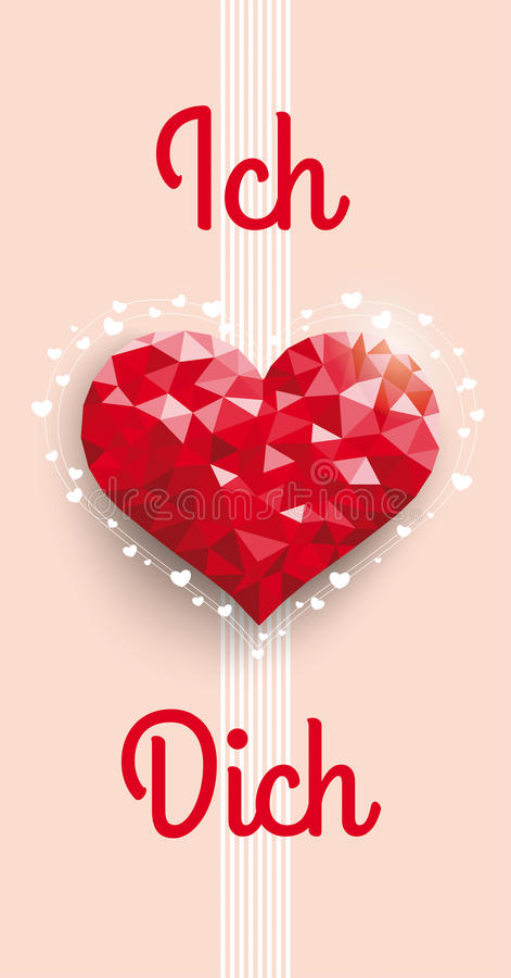 Low Poly Heart Ich Liebe Dich Oblong. German text Ich Liebe Dich, translate I Love You vector illustration