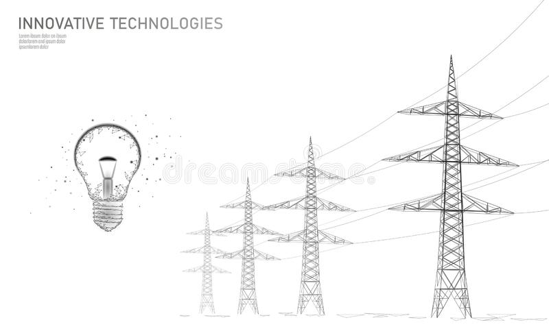 Low poly high voltage power line idea bulb. Electricity supply industry pylons outlines black white. Innovation vector illustration