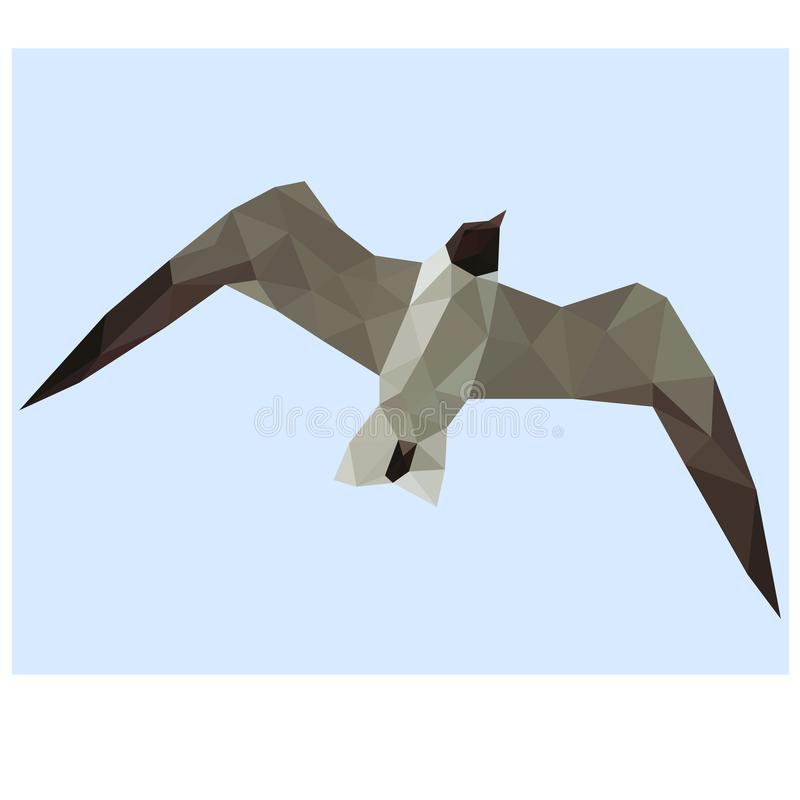 Low poly illustration of gull. Low poly design illustration of gull royalty free illustration