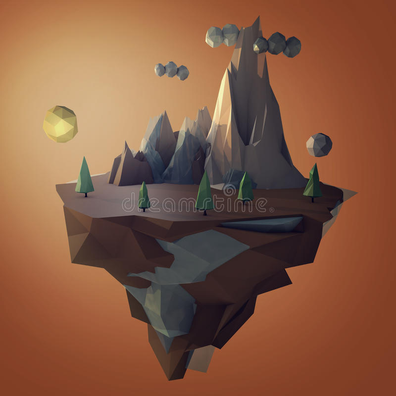 Low poly island with mountains stock photo