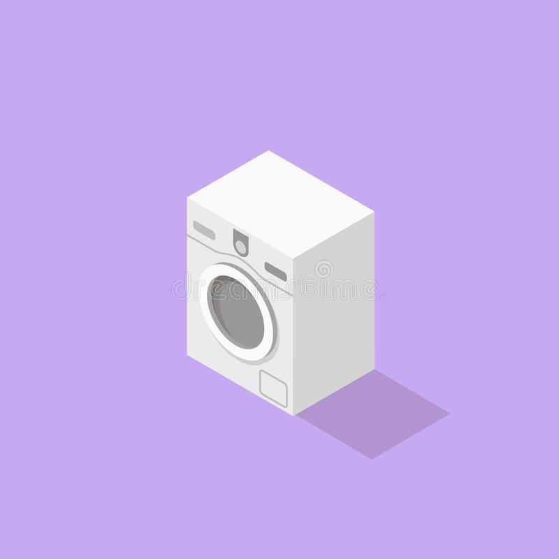 Low poly isometric washer. Realistic icon. Isolated laundry object stock illustration