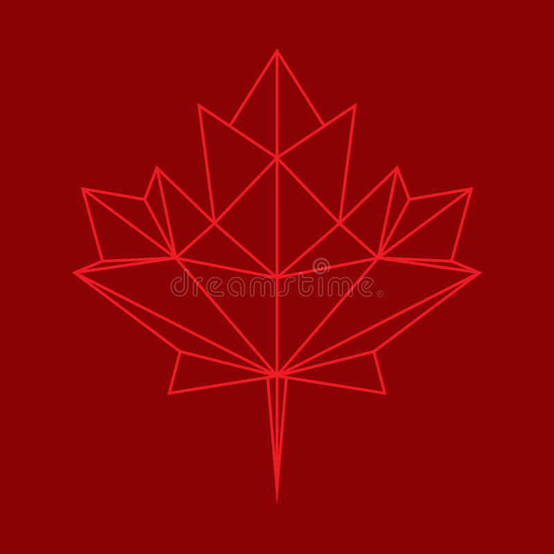 Low Poly Leaf. A low polygon style maple leaf in vector format. This stylish symbol is an iconic representation of Canada stock illustration