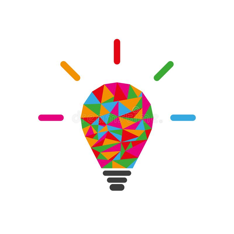Low poly lightbulb as creative idea concept. Web icon. Vector illustration. Business concept royalty free illustration