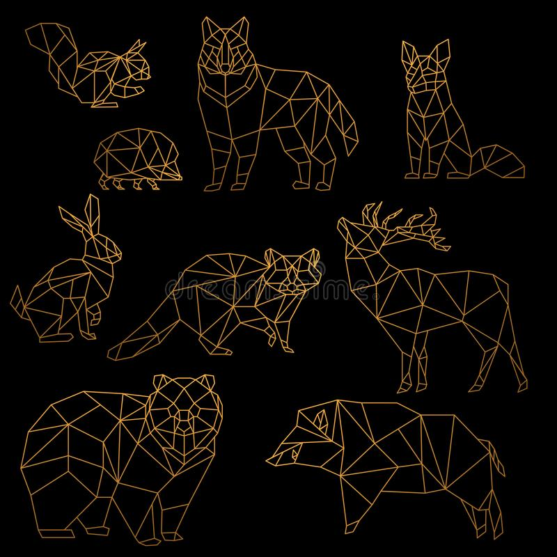 Download Low Poly Luxury Golden Line Animals Set Origami Poligonal Gold Wolf