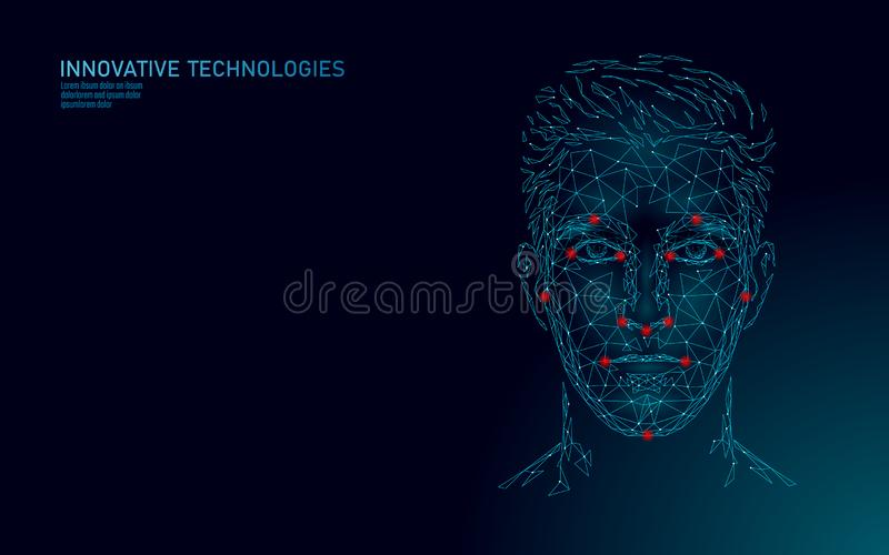 Low poly male human face biometric identification. Recognition system concept. Personal data secure access scanning. Innovation technology. 3D polygonal royalty free illustration