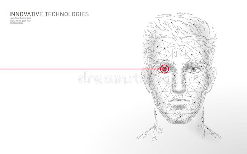 Low poly male human face biometric identification. Recognition system concept. Personal data secure access scanning. Innovation technology. 3D polygonal stock illustration