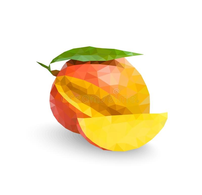 Low Poly Mango Fruit, vector illustration vector illustration