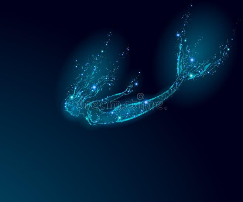 Low poly mermaid triangle myth creature sadness depressive falling mystic. Poligonal point line glowing blue dark night. Death star. Beautiful underwater depth stock illustration