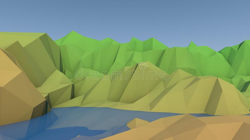 Low Poly Mountain Lake Landscape vector illustration