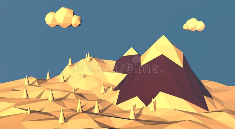 Low poly mountain winter landscape. Snow on top of royalty free illustration