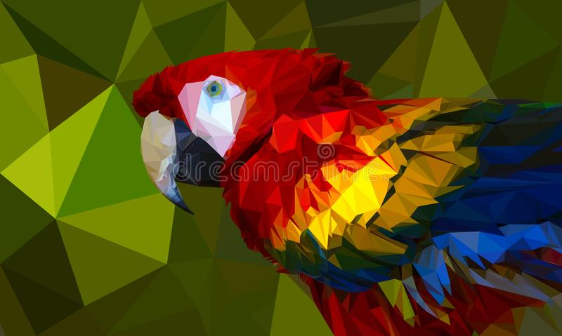 Low-poly Colorful parrot. royalty free illustration