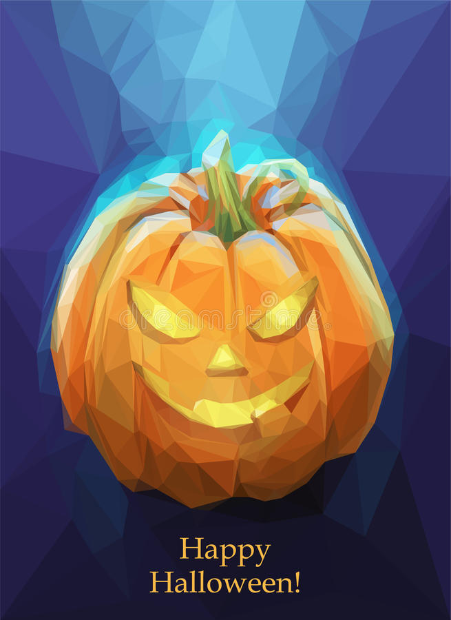 Low poly polygon pumpkin for Halloween stock illustration