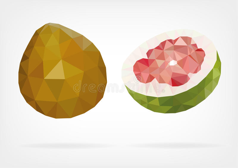Low Poly Pomelo fruit. Vector illustration of Pomelo fruit in low poly design royalty free illustration