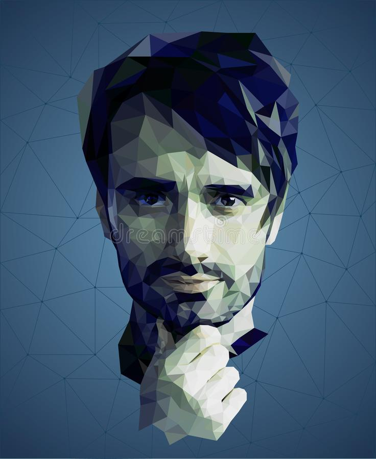 Low poly portrait of a man, reflective meditative face, blue colors, vector royalty free stock images