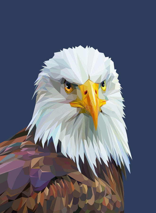 Free Low Poly Poster With Eagle. Vector Illustration. Royalty Free Stock Image - 71455396