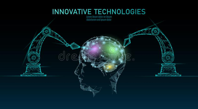 Low poly robot android brain machine learning. Innovation technology artificial intelligence human cyborg smart data vector illustration