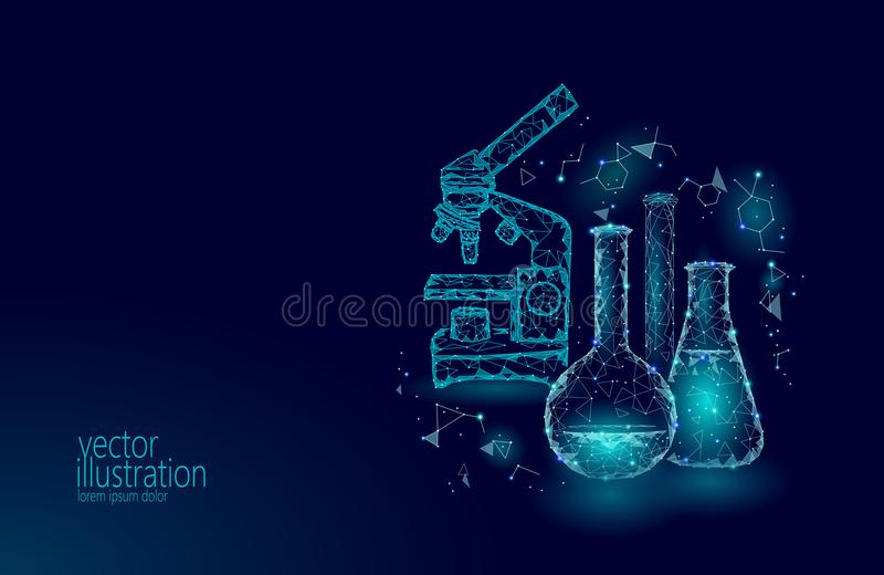 Low poly science chemical glass flasks. Magical equipment microscope zoom lens polygonal triangle blue glowing research stock illustration